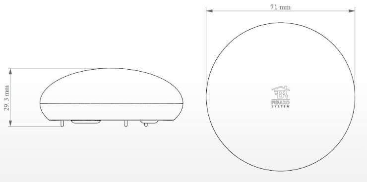 détecteur d'inondation zwave fibaro fgfs-101 dimensions