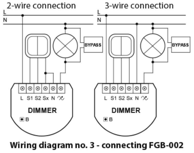 Fibaro fgd-212 dimmer 2 zwave interrupteur variateur lumière schéma avec bypass