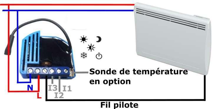 Qubino ZMNHJD1 Micromodule fil pilote Z-Wave plus schéma électrique