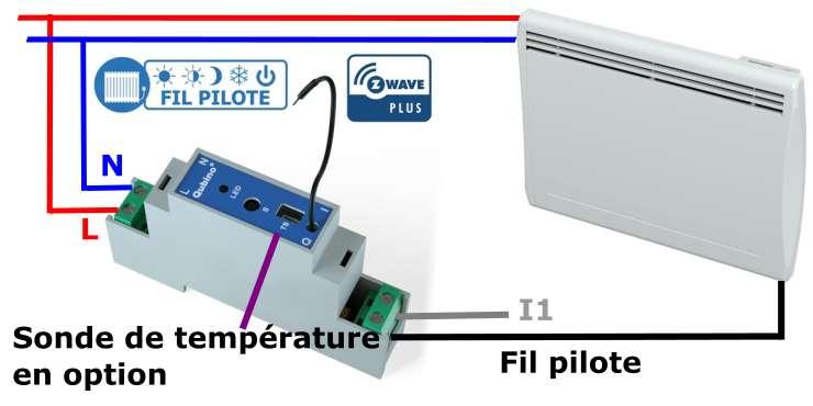Qubino ZMNHUD1 module fil pilote Z-Wave plus au format rail Din schéma électrique