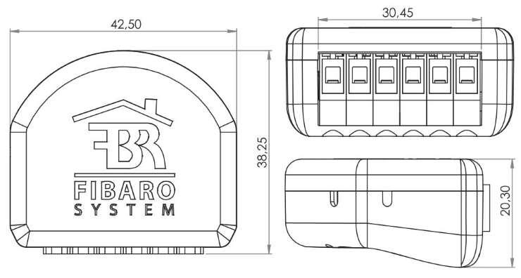 Fibaro FGR-223 Roller Shutter-3 Z-Wave plus micromodule pour volet roulant dimensions