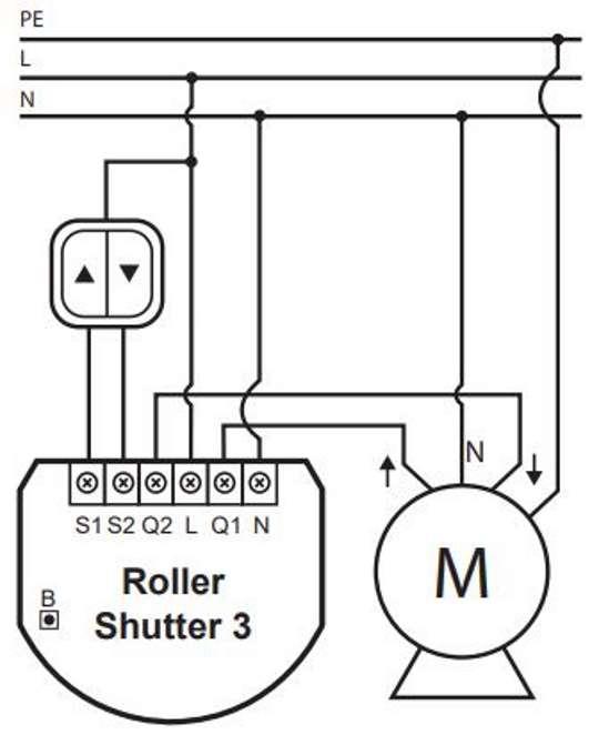 Fibaro FGR-223 Roller Shutter-3 Z-Wave plus micromodule pour volet roulant schéma de câblage