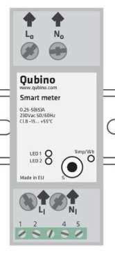 Qubino Smart Meter ZMNHTD1 Module Din suivi consommation électrique ZWave plus bornes de raccordement