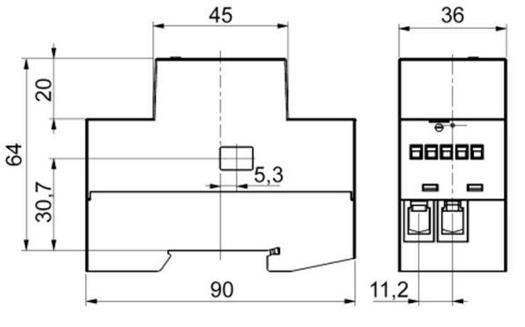 Qubino Smart Meter ZMNHTD1 Module Din suivi consommation électrique ZWave les dimensions