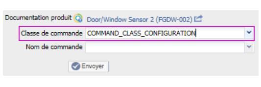 paramétrer le détecteur d'ouverture Fibaro FGDW-002 depuis la box domotique bouton classe de commande