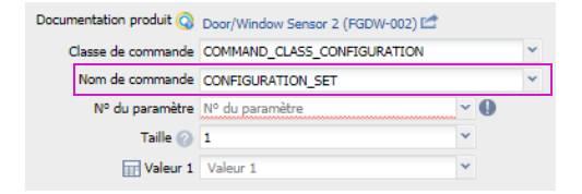 paramétrer le détecteur d'ouverture Fibaro FGDW-002 depuis la box domotique bouton nom de la commande