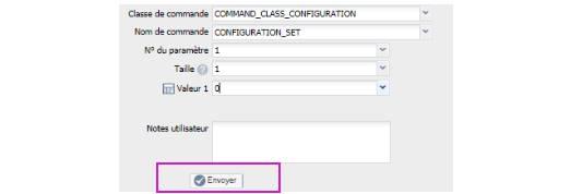 paramétrer le détecteur d'ouverture Fibaro FGDW-002 depuis la box domotique bouton envoyer