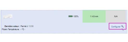 paramétrer le détecteur d'ouverture Fibaro FGDW-002 depuis la box domotique bouton paramétrer