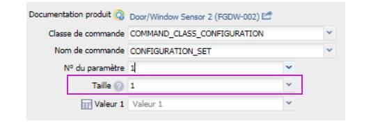 paramétrer le détecteur d'ouverture Fibaro FGDW-002 depuis la box domotique taille paramètre 1