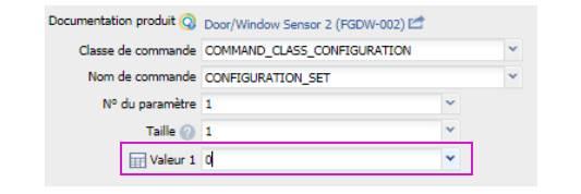 paramétrer le détecteur d'ouverture Fibaro FGDW-002 depuis la box domotique valeur paramètre 0