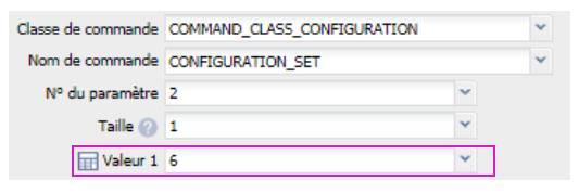 paramétrer le détecteur d'ouverture Fibaro FGDW-002 depuis la box domotique Eedomus paramétrer témoin lumineux valeur 6