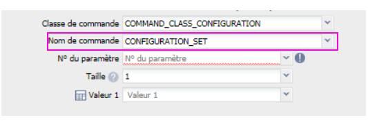 configuration set pour définir le type d'interrupteur sur le module Roller Shutter 3 Fibaro FGR-223