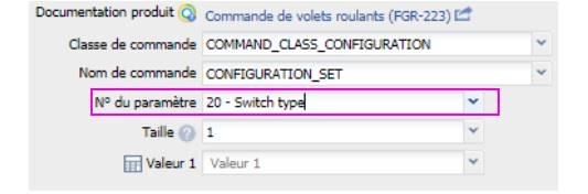 n° de paramètre 20 pour définir le type d'interrupteur sur le micro module Roller Shutter 3 Fibaro FGR-223