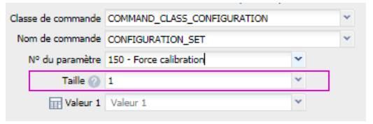 valeur du paramètre 150 du micro module Roller Shutter 3 Fibaro FGR-223