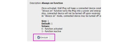 paramétrer la prise connectée Fibaro Wall-plug FGWPE-102 depuis la box domotique Eedomus bouton envoyé