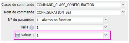 paramétrer la prise connectée Fibaro Wall-plug FGWPE-102 depuis la box domotique Eedomus valeur paramètre