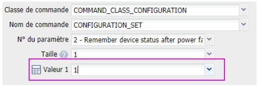 paramétrer la prise connectée Fibaro Wall-plug FGWPE-102 depuis la box domotique Eedomus paramètre numéro 2 valeur 1