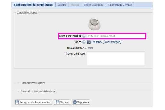 inclusion du détecteur de mouvement Everspring SP816 depuis la box domotique Eedomus donner un nom personnalisé au périphérique