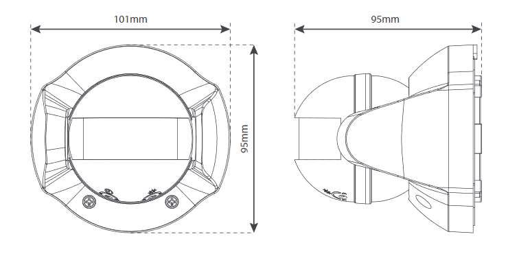 SP816-1 détecteur de mouvement Z-Wave extérieur Everspring capteur PIR les dimensions