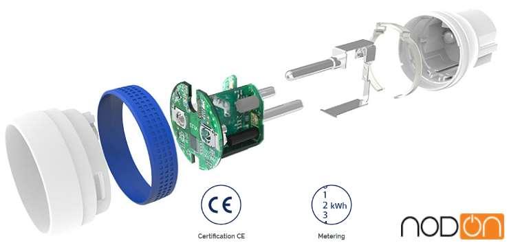 Nodon prise connectée Z-Wave plus Micro Smart Plug MSP-3-1-01 Prise Type E FR vue éclatée