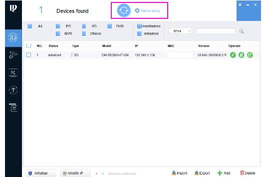 Caméra Dahua paramétrage réseau cliquer sur le bouton refresh