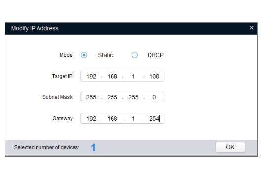 Caméra Dahua paramétrage réseau saisir la configuration réseau