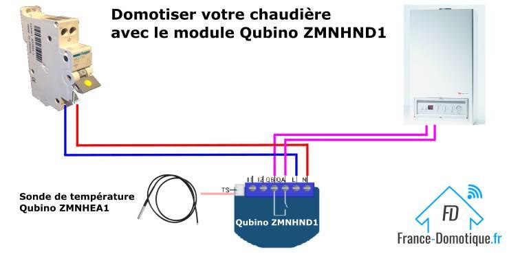 Qubino ZMNHND1 Micromodule 1 contact sec Z-Wave Plus domotiser une chaudière