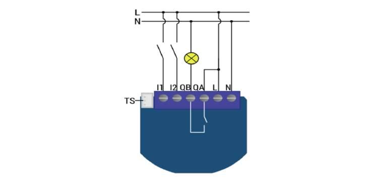 Qubino ZMNHND1 Micromodule 1 contact sec Z-Wave Plus schéma 230V