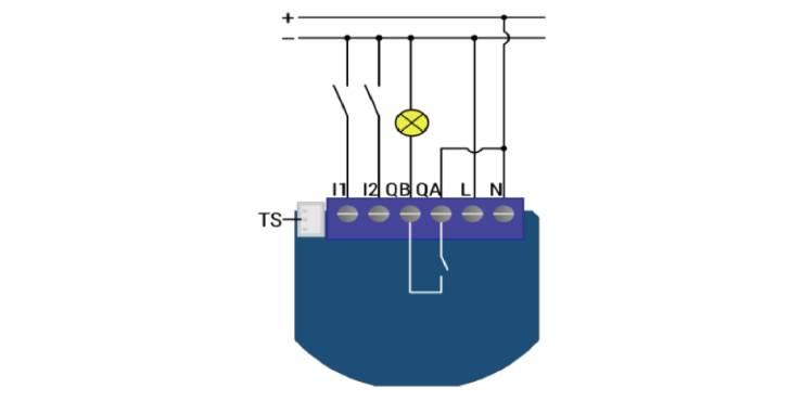 Qubino ZMNHND1 Micromodule 1 contact sec Z-Wave Plus schéma 24V